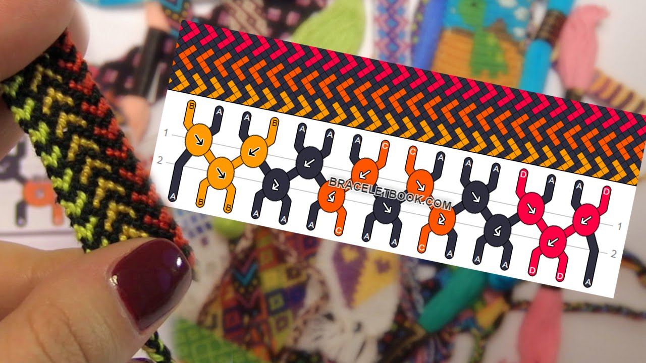 схемы для фенечек косого плетения
