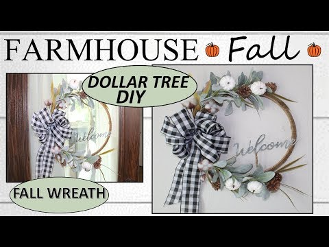 FARMHOUSE FALL DECOR (2019) | Dollar Tree DIY | FALL WREATH