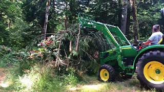 Tractor logging with a 2018 John Deere 4044R with forks