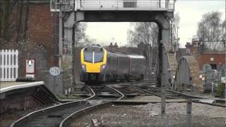 Selby Railway Station Hull Trains Class 180 Unit and GBRF Class 66 No 66738 11th Jan 2012.wmv