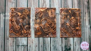 Old Keys - Mixed Media ATC series - Artist Trading Cards (start to finish) Pixel Art Design