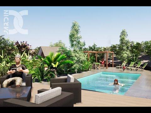 Abris de piscine rétractable - Conception jardin 3D - Architecture paysagère - Jardin DECRESSAC