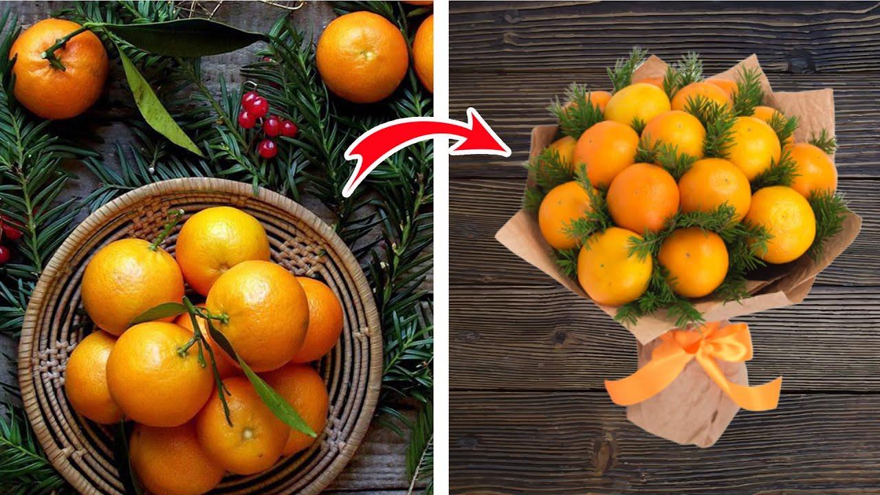 4 идеи - букеты из фруктов на новый год ☆ Diy Buket7ruTV
