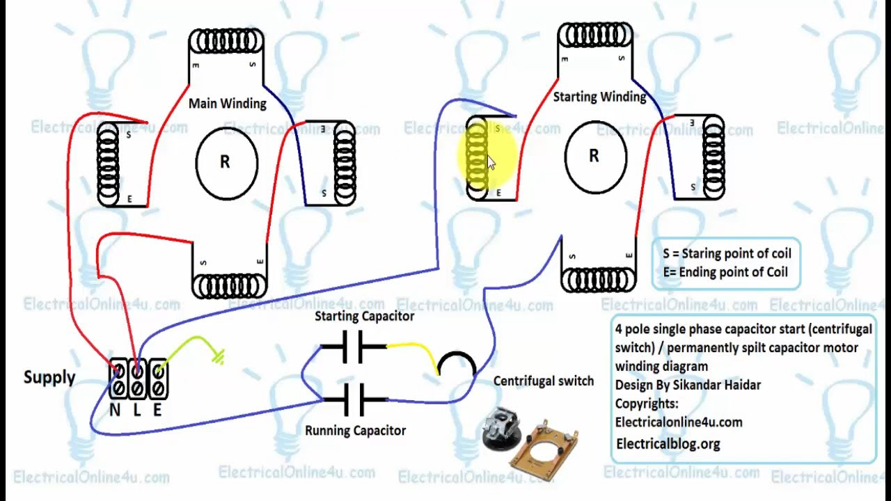 Single Phase 4 Pole Induction Motor Winding Diagram With