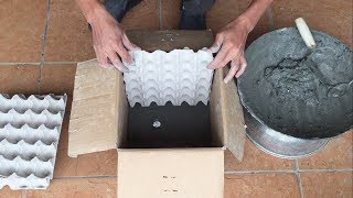 Cardboard Boxes And Egg Trays || Creative Cement Pots || DIY Cement Pot Making At Home Easily