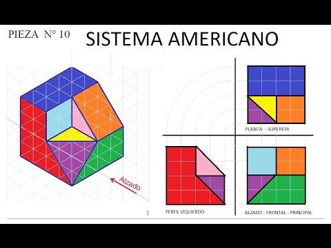 10 SISTEMA AMERICANO Ej.10 Ejercicios De Vistas Dibujo Tecnico, Proyecciones, Sistema Asa