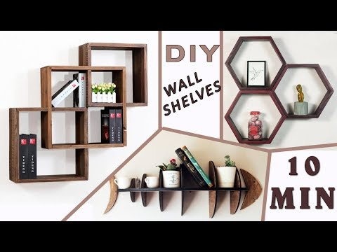 3 DIY HOW TO MAKE WALL SHELVES // Cardboard Organizer