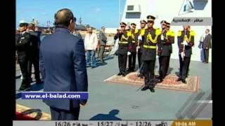 بالفيديو.. الرئيس يستعرض حرس الشرف فى إطار المرحلة الختامية لمناورة ذات الصواري