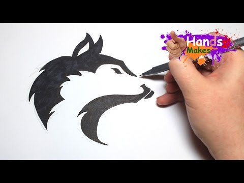Easy How To Draw A Tattoo Style Tribal Wolf Head Youtube