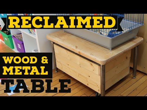 Reclaimed Wood Table w/ Metal Legs and Storage - For Guinea Pig