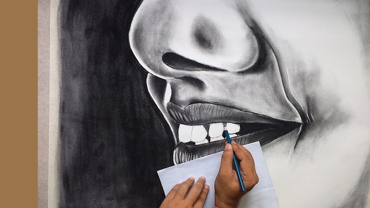How To Draw A Realistic Nose And Lips : Speed Drawing ( Easy Charcoal  Painting ) L Kalaakhand