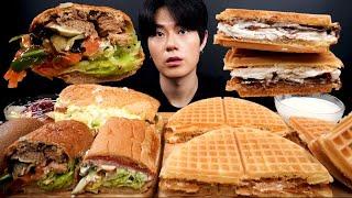 SUB) 서브웨이 샌드위치 , 누텔라 와플, 요거트 먹…