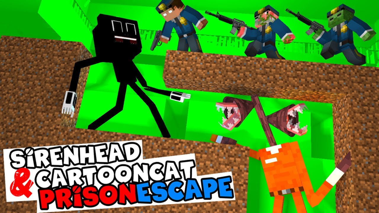 Monster School: PRISON ESCAPE SIREN HEAD and CARTOON CAT - Minecraft Animation