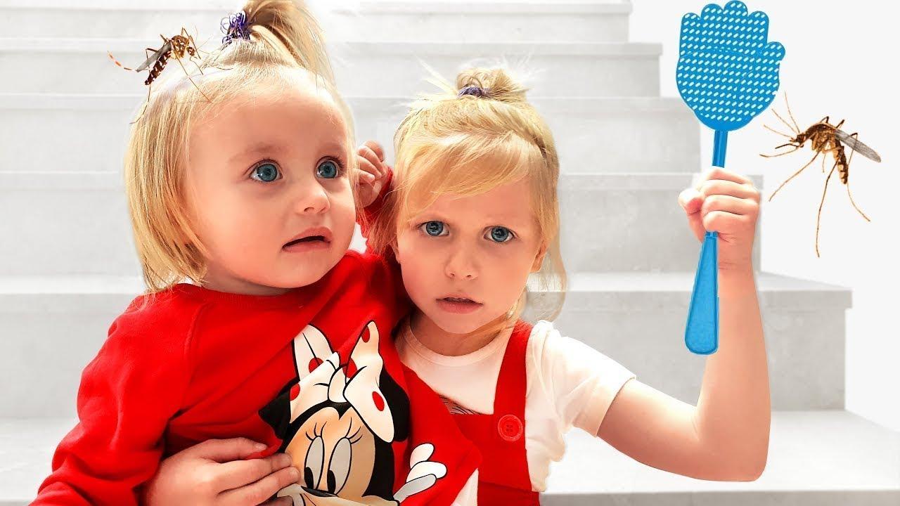 Алиса защищает сестричку Еву от комаров