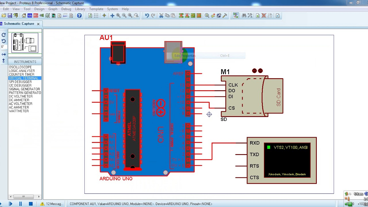 Arduino SD card Proteus simulation