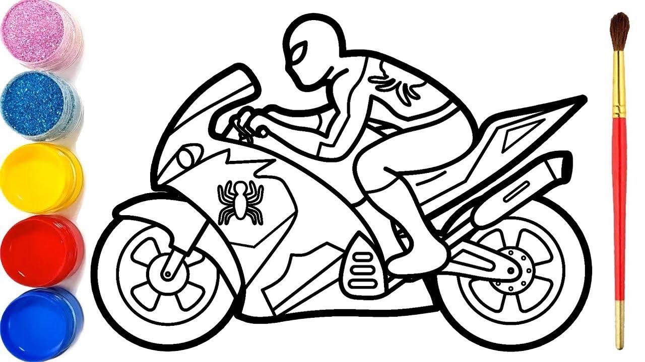 Cara Menggambar dan Mewarnai Spiderman Naik Motor   Glitter Spiderman Riding a Motorcycle Coloring