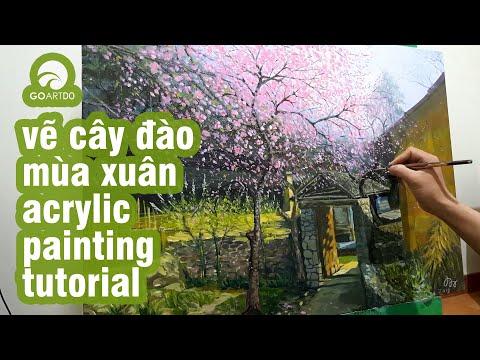 Vẽ tranh phong cảnh hoa đào miền núi cách vẽ hóa ra lại đơn giản