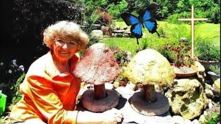 My Portland Cement Big Mushrooms yard  decorations in Ga. U.S.A.