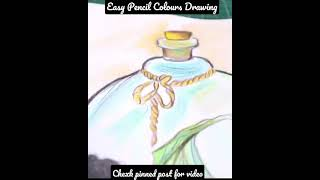 Mermaid in a bottle   Easy Pencil Colour Drawing #shorts