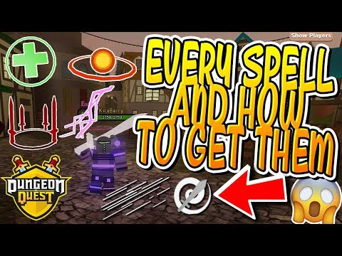 Every Spell And How To Get Them In Dungeon Quest Roblox Youtube
