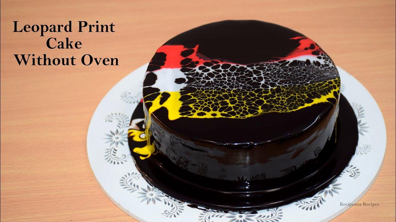 कढ़ाई में बनाये मार्किट जैसा केक - Leopard Print Cake Without Oven - Chocolate Cake