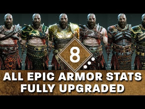 God of War - All Epic Armor Sets - Fully Upgraded Stats Showcase and How to Get The Best Epic Armor
