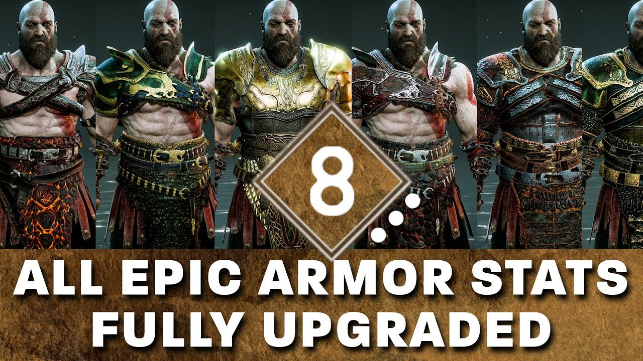God Of War All Epic Armor Sets Fully Upgraded Stats Showcase And How To Get The Best Epic Armor