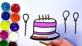 How to Draw a Birthday Cake for Kids - Learn to Draw and Paint - Little Friends123