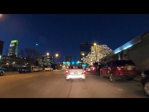 Drive Tour 4K, Toward & Through Downtown in Omaha, Nebraska, USA-Night Drive