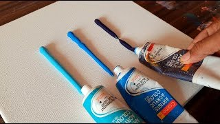 Easy & Satisfying / Abstract Painting Demo/ Spreading paints on canvas/ Project 365 days / Day #0281