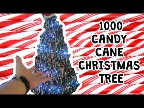 1000 CANDY CANE CHRISTMAS TREE!! DIY!!
