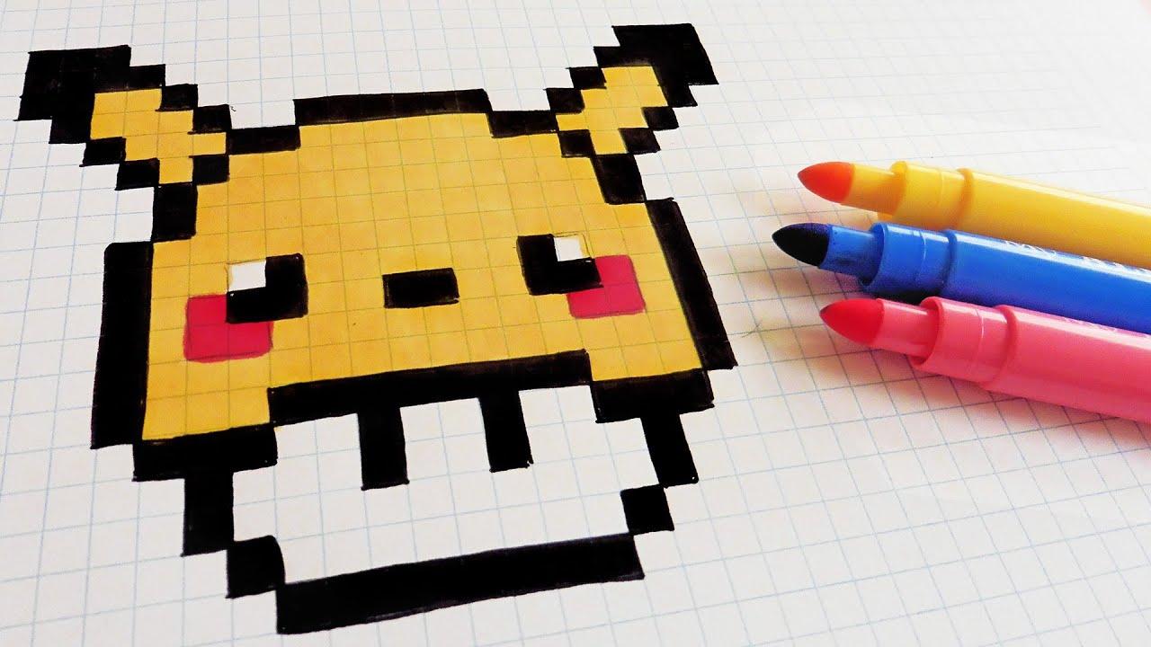 Handmade Pixel Art - How To Draw Pikachu Mushroom #pixelart - ViYoutube