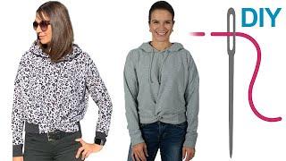 Hoodie nähen für Anfänger, DIY Shirt Friederike Hoodie mit Knotenoptik