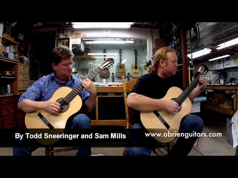 Sam Mills and Todd Sneeringer playing guitars they built at O'Brien Guitars