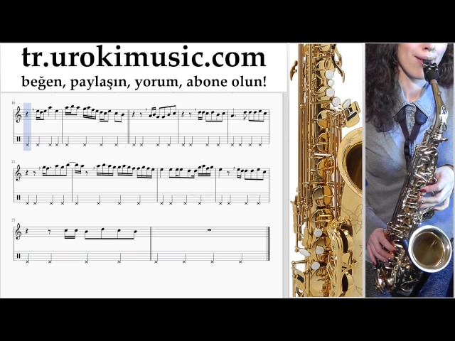 Saksafon dersleri (alto) Aleyna Tilki - Sen Olsan Bari Notalar E?itim um-i723