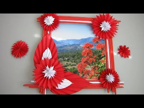 DIY: Easy Photo Frame Tutorial! !!! (Birthday Gift Idea/ Room Decoration)Made With Color Paper!!! m