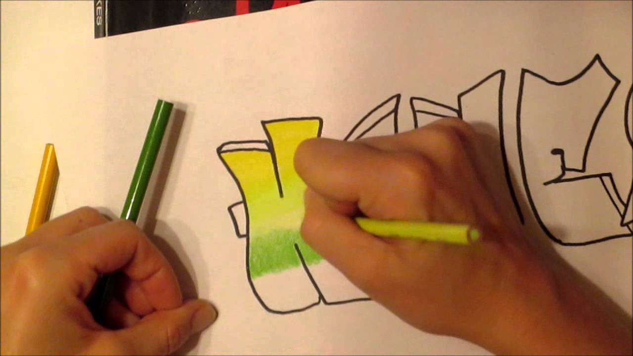 How to draw graffiti with a pencil on paper
