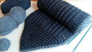 Мужской шарф спицами (серый шарфец для сына)