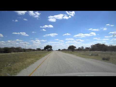 Driving along the Botswana road to Maun