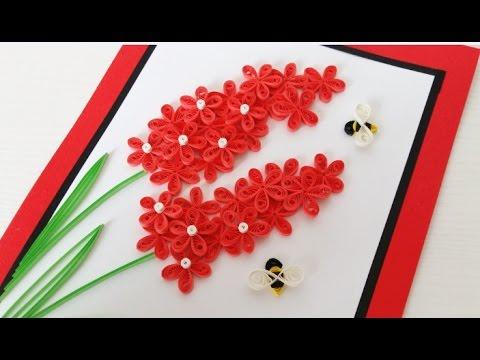 Paper Quilling Flower For beginner Learning Video 14 // Paper Flower Card