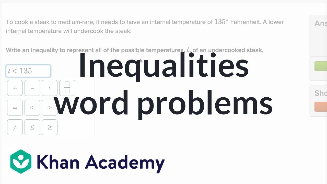 medium resolution of Inequalities word problems (video)   Khan Academy