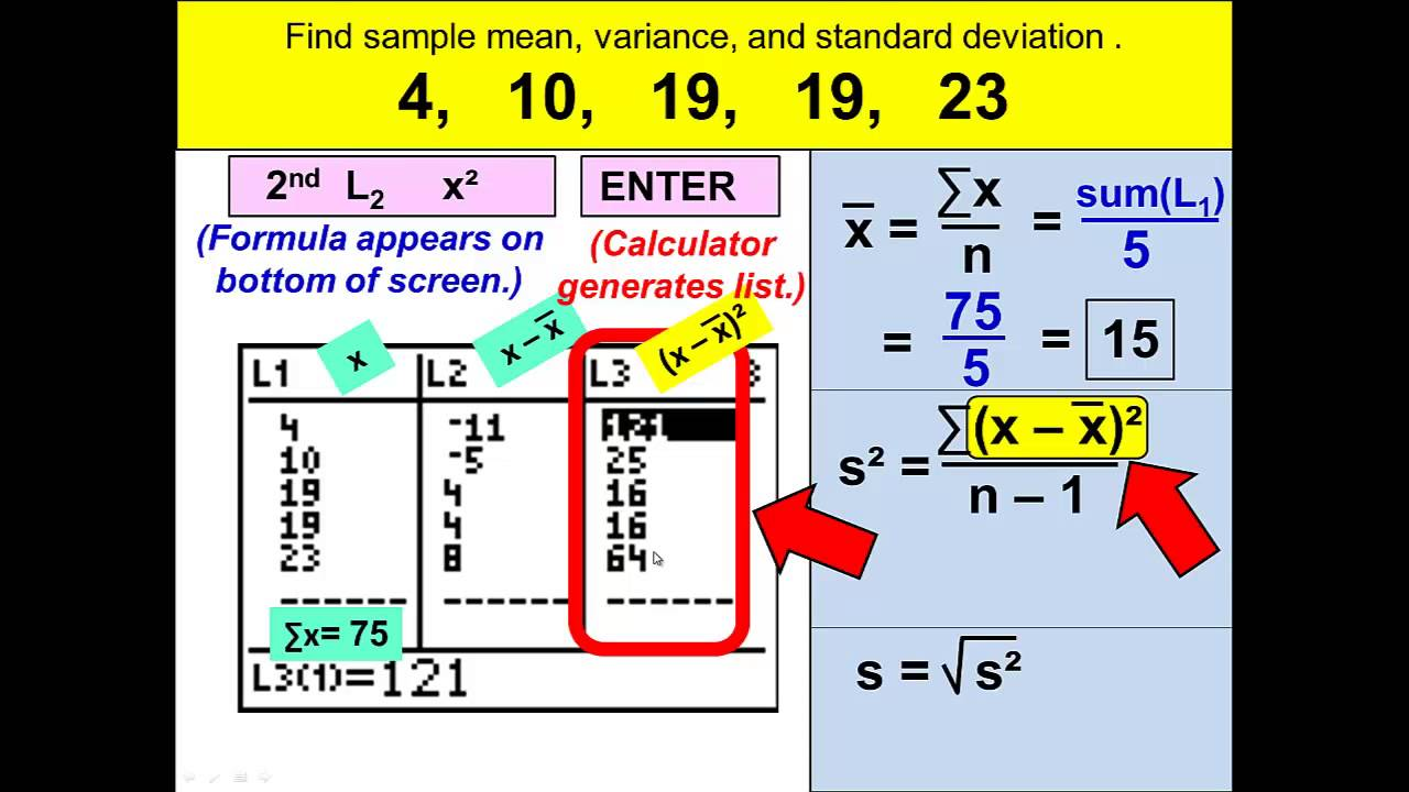 Sample Standard Deviation and Variance with the TI-84 Calculator ...