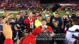 Former #49ers  owner Eddie DeBartolo speaks to the crowd after the Legends of  #Candlestick  footbal