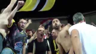 Edin Basic et Cédric Paty dans la tribune de la Frega 12 après le match contre MAHB