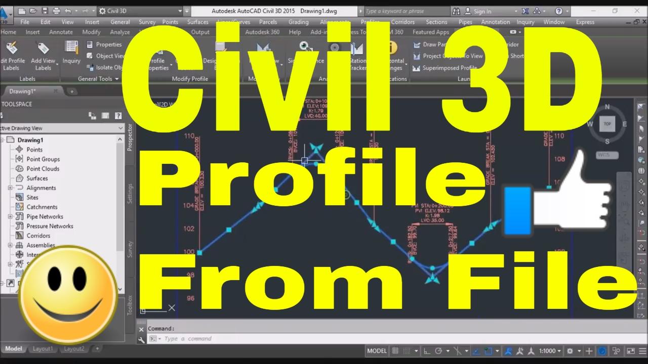 AutoCAD Civil 3D Tutorial Road Profile Creation From File in AutoCAD Civil  3D, ACAD, AutoDesk C3D