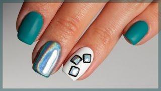 Голографическая втирка для ногтей. Как закрепить? Дизайн ногтей Призма, Мираж. Зеленый маникюр.