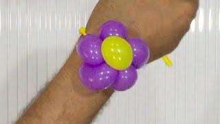 How to make a Balloon flower wristband bracelet - Balloon twisting tutorial