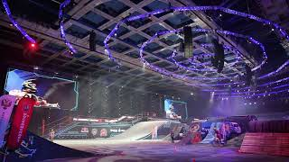 Фото Moscow Russia March 14 2015 Big Crazy Moto Show Extreme Sport Motocross Fmx Riders Big Jump Slow