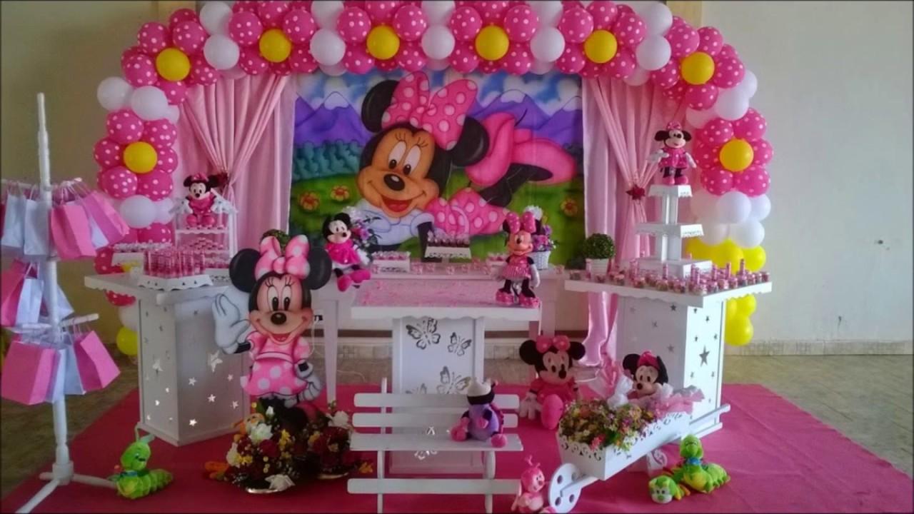 Decoração Youtube ~ Decoraç u00e3o de festa Minie rosa YouTube