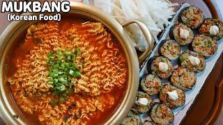 집밥먹방 🔥틈새라면 땡초김밥🔥 하얀 무생채 먹방 Spicy Noodles & Gimbap MUKBANG ASMR REAL SOUND EATING SHOW COOKING RECIPE